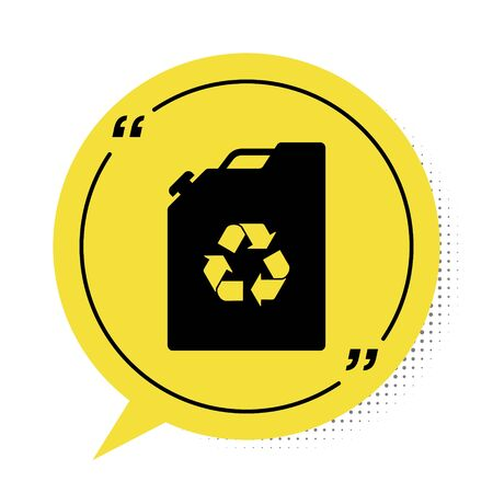 Black Eco fuel canister icon isolated on white background. Eco bio and barrel. Green environment and recycle. Yellow speech bubble symbol. Vector Illustration