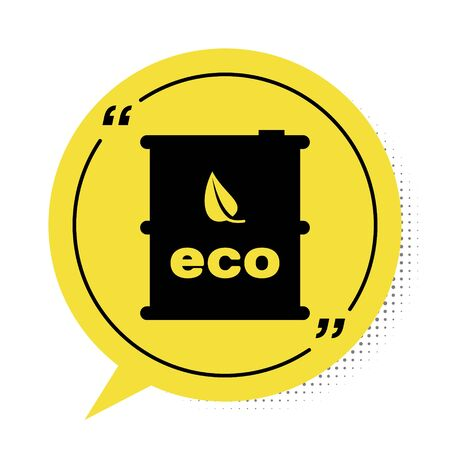 Black Bio fuel barrel icon isolated on white background. Eco bio and canister. Green environment and recycle. Yellow speech bubble symbol. Vector Illustration
