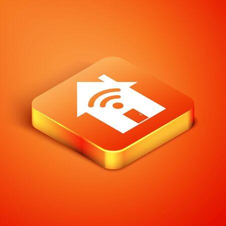 Isometric Smart home with wifi icon isolated on orange background. Remote control. Vector Illustration Illusztráció