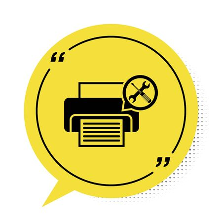 Black Printer with screwdriver and wrench icon isolated on white background. Adjusting, service, setting, maintenance, repair, fixing. Yellow speech bubble symbol. Vector Illustration Illustration