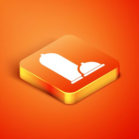Isometric Condoms safe sex icon isolated on orange background. Safe love symbol. Contraceptive method for male. Vector Illustration Reklamní fotografie - 134889833
