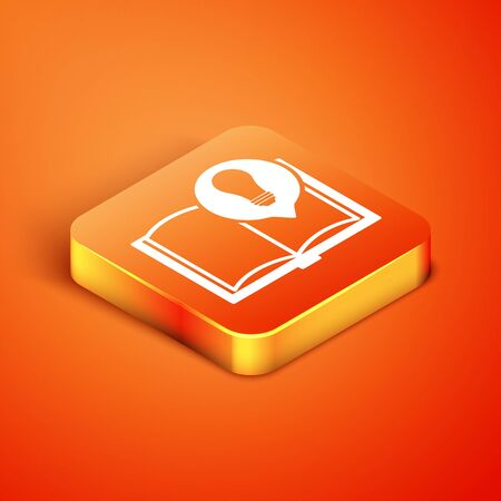 Isometric Interesting facts icon isolated on orange background. Book or article and light bulb. Vector Illustration