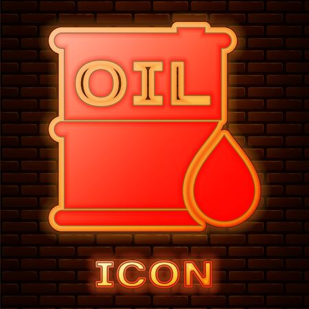Glowing neon Oil barrel icon isolated on brick wall background. Oil drum container. For infographics, fuel, industry, power, ecology. Vector Illustration