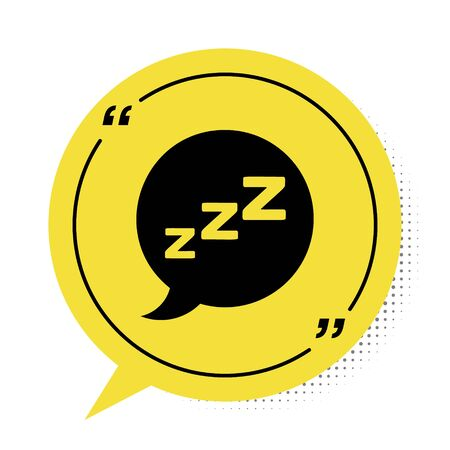 Black Speech bubble with snoring icon isolated on white background. Concept of sleeping, insomnia, alarm clock app, deep sleep, awakening. Yellow speech bubble symbol. Vector Illustration