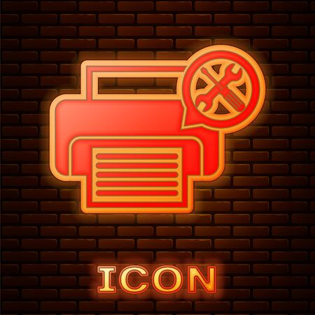 Glowing neon Printer with screwdriver and wrench icon isolated on brick wall background. Adjusting, service, setting, maintenance, repair, fixing. Vector Illustration