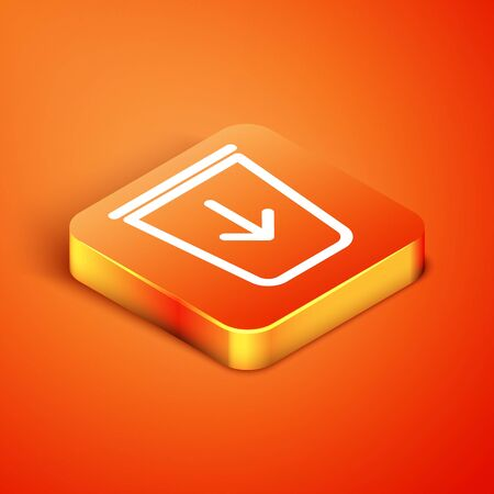 Isometric Send to the trash line icon isolated on orange background. Vector Illustration