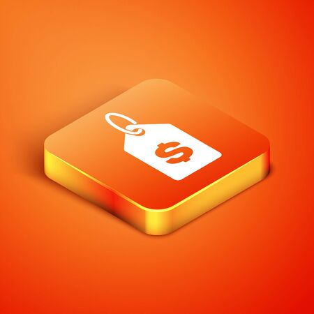 Isometric Price tag with dollar icon isolated on orange background. Badge for price. Sale with dollar symbol. Promo tag discount. Vector Illustration