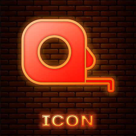 Glowing neon Roulette construction icon isolated on brick wall background. Tape measure symbol. Vector Illustration