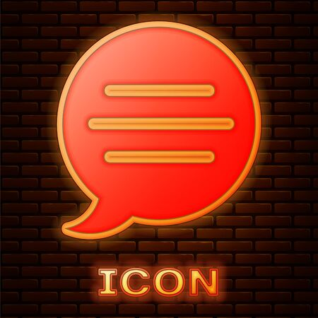 Glowing neon Speech bubble chat icon isolated on brick wall background. Message icon. Communication or comment chat symbol. Vector Illustration