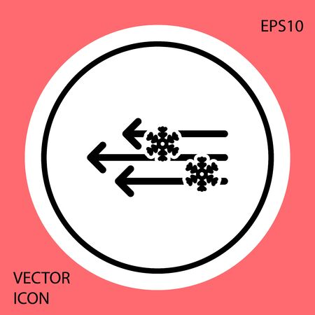 Black Wind and snow icon isolated on red background. Windy weather. White circle button. Vector Illustration