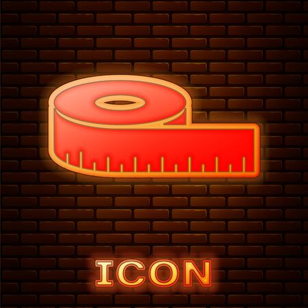 Glowing neon Tape measure icon isolated on brick wall background. Measuring tape. Vector Illustration