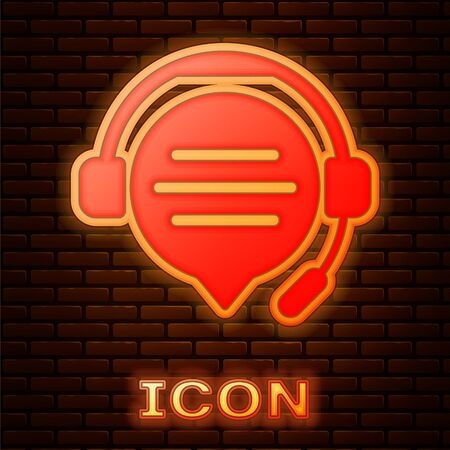 Glowing neon Headphones with speech bubble chat icon isolated on brick wall background. Support customer service, hotline, call center, faq, maintenance. Vector Illustration