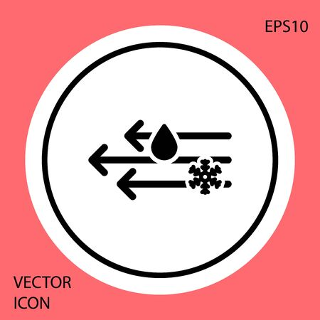 Black Wind and rain with snow icon isolated on red background. Windy weather. White circle button. Vector Illustration
