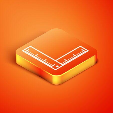 Isometric Folding ruler icon isolated on orange background. Vector Illustration 向量圖像