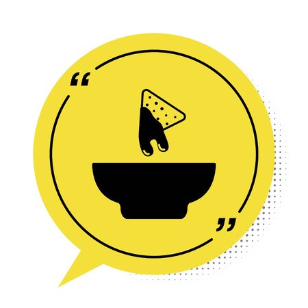 Black Nachos in plate icon isolated on white background. Tortilla chips or nachos tortillas. Traditional mexican fast food. Yellow speech bubble symbol. Vector Illustration Vector Illustration