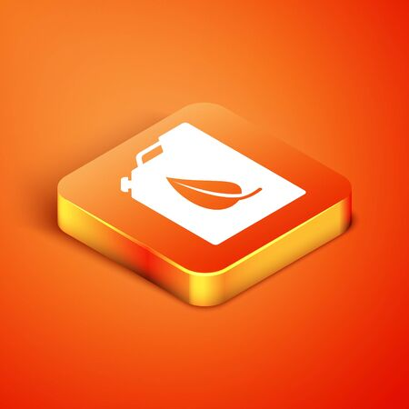 Isometric Bio fuel canister icon isolated on orange background. Eco bio and barrel. Green environment and recycle. Vector Illustration