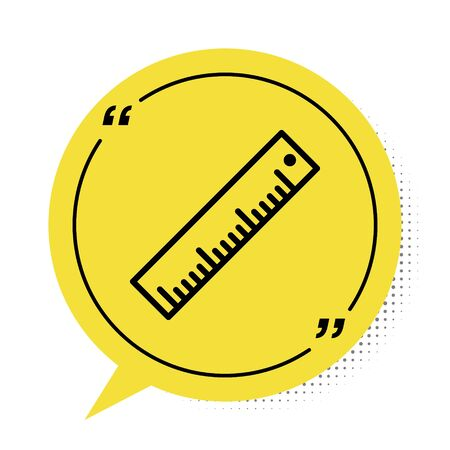 Black Ruler icon isolated on white background. Straightedge symbol. Yellow speech bubble symbol. Vector Illustration 向量圖像