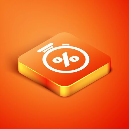 Isometric Stopwatch and percent discount icon isolated on orange background. Time timer sign. Vector Illustration Illustration