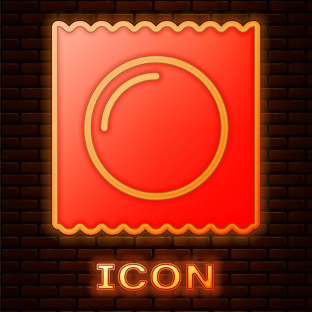 Glowing neon Condom in package safe sex icon isolated on brick wall background. Safe love symbol. Contraceptive method for male. Vector Illustration Reklamní fotografie - 134888409