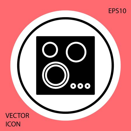 Black Gas stove icon isolated on red background. Cooktop sign. Hob with four circle burners. White circle button. Vector Illustration Standard-Bild - 134888430