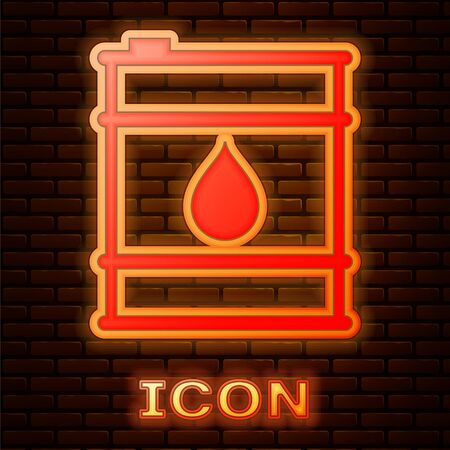 Glowing neon Oil barrel line icon isolated on brick wall background. Oil drum container. For infographics, fuel, industry, power, ecology. Vector Illustration