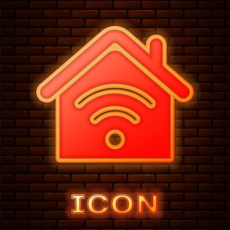 Glowing neon Smart home with icon isolated on brick wall background. Remote control. Vector Illustration Illustration