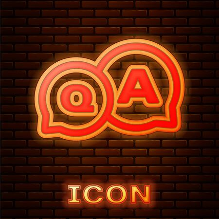 Glowing neon Speech bubbles with Question and Answer icon isolated on brick wall background. Q and A symbol. FAQ sign. Chat speech bubble and chart. Vector Illustration