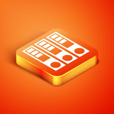Isometric Office folders with papers and documents icon isolated on orange background. Office binders. Archives folder sign. Vector Illustration