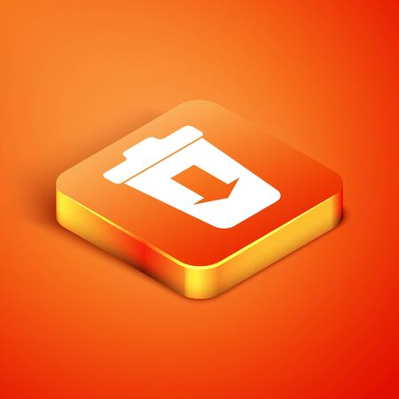 Isometric Send to the trash icon isolated on orange background. Vector Illustration Illusztráció