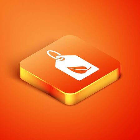 Isometric Tag with leaf symbol icon isolated on orange background. Banner, label, tag, sticker for eco green. Vector Illustration