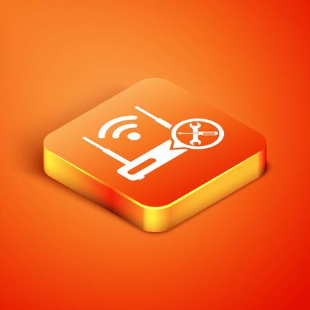 Isometric Router with screwdriver and wrench icon isolated on orange background. Adjusting, service, setting, maintenance, repair, fixing. Vector Illustration Stock fotó - 134902068