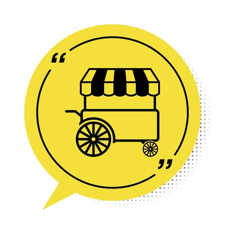 Black Fast street food cart with awning icon isolated on white background. Urban kiosk. Yellow speech bubble symbol. Vector Illustration