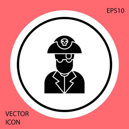 Black Pirate captain icon isolated on red background. White circle button. Vector Illustration  イラスト・ベクター素材