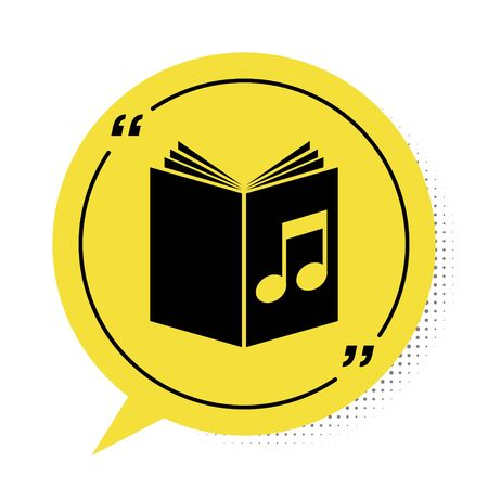 Black Audio book icon isolated on white background. Musical note with book. Audio guide sign. Online learning concept. Yellow speech bubble symbol. Vector Illustration 版權商用圖片 - 134888603