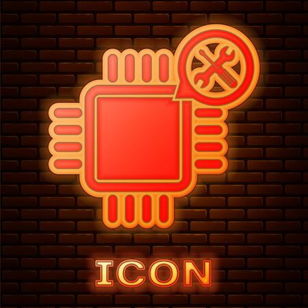 Glowing neon Processor with screwdriver and wrench icon isolated on brick wall background. Adjusting, service, setting, maintenance, repair, fixing. Vector Illustration