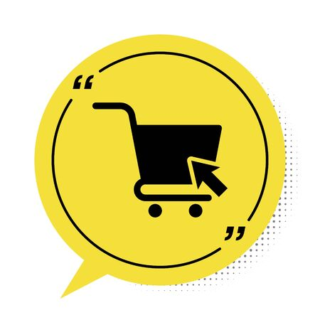 Black Shopping cart with cursor icon isolated on white background. Online buying concept. Delivery service sign. Supermarket basket symbol. Yellow speech bubble symbol. Vector Illustration