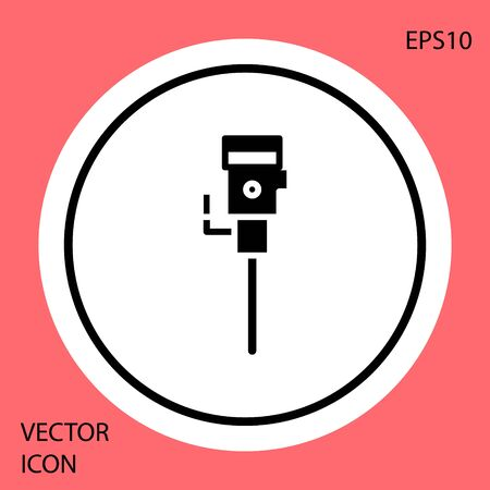 Black Construction jackhammer icon isolated on red background. White circle button. Vector Illustration  イラスト・ベクター素材