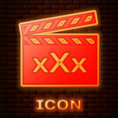 Glowing neon Movie clapper with inscription XXX icon isolated on brick wall background. Age restriction symbol. 18 plus content sign. Adult channel. Vector Illustration Illustration