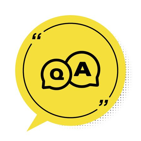 Black Speech bubbles with Question and Answer icon isolated on white background. Q and A symbol. FAQ sign. Chat speech bubble and chart. Yellow speech bubble symbol. Vector Illustration