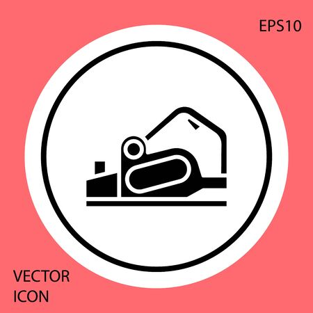 Black Electric planer tool icon isolated on red background. White circle button. Vector Illustration Иллюстрация