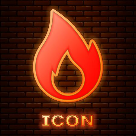 Glowing neon Fire flame icon isolated on brick wall background. Heat symbol. Vector Illustration