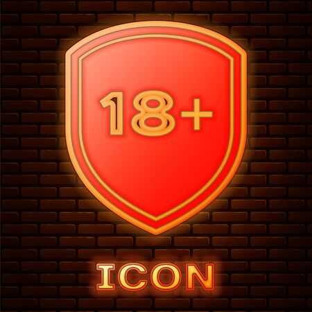 Glowing neon Shield with inscription 18 plus icon isolated on brick wall background. Adults content only. Protection, safety, security, protect concept. Vector Illustration