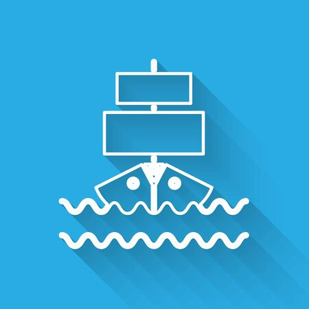 White line Ship icon isolated with long shadow. Vector Illustration