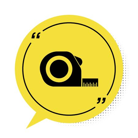 Black Roulette construction icon isolated on white background. Tape measure symbol. Yellow speech bubble symbol. Vector Illustration