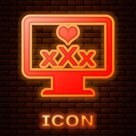 Glowing neon Computer monitor with 18 plus content heart icon isolated on brick wall background. Age restriction symbol. XXX content sign. Adult channel. Vector Illustration Illustration