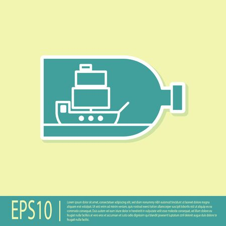 Green Glass bottle with ship inside icon isolated on yellow background. Miniature model of marine vessel. Hobby and sea theme. Vector Illustration Stock Illustratie