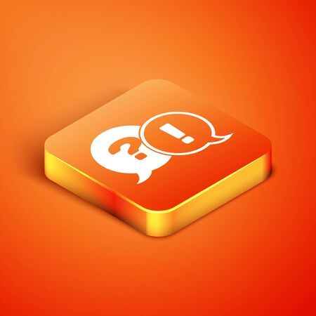Isometric Speech bubbles with Question and Exclamation icon isolated on orange background. FAQ sign. Copy files, chat speech bubble and chart. Vector Illustration