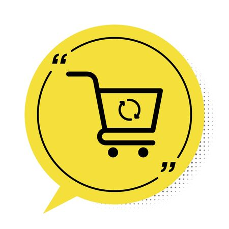 Black Refresh shopping cart icon isolated on white background. Online buying concept. Delivery service sign. Update supermarket basket symbol. Yellow speech bubble symbol. Vector Illustration