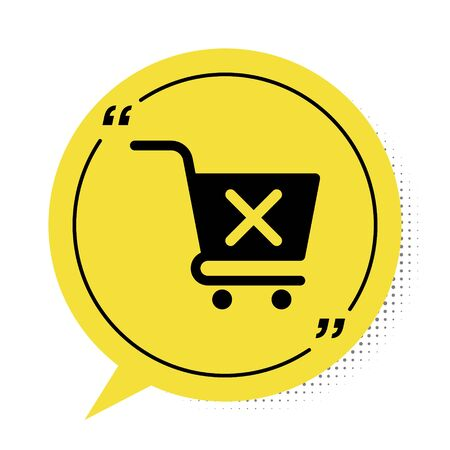 Black Remove shopping cart icon isolated on white background. Online buying concept. Delivery service sign. Supermarket basket and X mark. Yellow speech bubble symbol. Vector Illustration Illusztráció