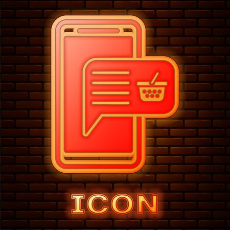 Glowing neon Mobile phone and shopping basket icon isolated on brick wall background. Online buying symbol. Supermarket basket symbol. Vector Illustration